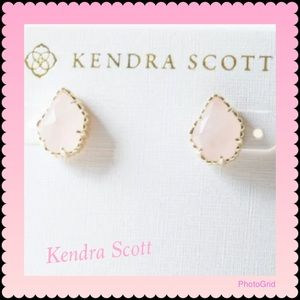 Kendra Scott Tessa Gold Stud Earrings Rose Quartz